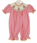NEW Remember Nguyen (Remember When) Pink Striped Smocked Bubble with Embroidered Bunnies