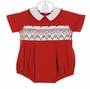 NEW Remember Nguyen (Remember When) Red Corduroy Romper with Holiday Smocking