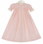 NEW Remember Nguyen (Remember When) Vintage Style Pink Cotton Smocked Daygown with Lace and Embroidery