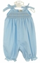 NEW Rosalina Blue Smocked Long Bubble with Pastel Embroidered Rosebuds and Shoulder Ties