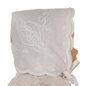 NEW Rosalina Keepsake Hanky Bonnet with Embroidery and Scalloped Edge