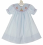 NEW Rosalina Pale Blue Bishop Smocked Dress with Birthday Cake Embroidery