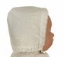 NEW Rosalina Pale Ivory Keepsake Hanky Bonnet with Embroidered Flowers