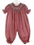 NEW Rosalina Red Checked Bishop Smocked Bubble with Embroidered Rosebuds