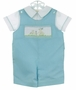 NEW Rosalina Robins Egg Blue Shortall and Shirt Set with Smocking and Bunny Embroidery
