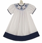 NEW Rosalina White and Navy Bishop Smocked Dress with Anchor Embroidery