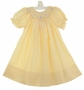 "<img src=""http://site.grammies-attic.com/images/blue-sold-1.gif""> NEW Rosalina Yellow Checked Bishop Smocked Dress with Embroidered Lambs"
