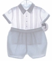 NEW Sarah Louise Blue and White Button On Shorts Set with Embroidered Bunnies