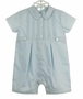 NEW Sarah Louise Blue Pintucked Romper with Featherstitching-and-Front Tabs and Matching Hat
