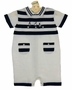 NEW Sarah Louise Dark Navy and White Striped Cotton Knit Romper with Boat Embroidery