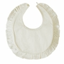 "<img src=""http://site.grammies-attic.com/images/blue-sold-1.gif"">  NEW Sarah Louise Ivory Silk Bib with Ruffled Edge"