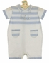 NEW Sarah Louise Light Blue and White Striped Cotton Knit Romper with Boat Embroidery