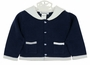 NEW Sarah Louise Navy Cotton Cardigan Sweater with White Sailor Collar