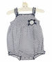 NEW Sarah Louise Navy Dotted Smocked Sunsuit with Eyelet Flower Trim