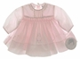 NEW Sarah Louise Pale Pink Smocked Baby Dress with Openwork and Embroidered Flowers