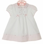 NEW Sarah Louise Pink and White Dress with Pink Embroidered Rosebuds and Bows