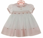 NEW Sarah Louise Vintage Style Pink and White Smocked Dress with Embroidered Rosebuds