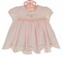 NEW Sarah Louise Pink Smocked Dress and Diaper Cover with Embroidered Pink Rosebuds and Scalloped Hem