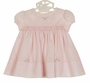 NEW Sarah Louise Pink Smocked Dress with Pink Embroidered Rosebuds and Tiny Crystal Beads