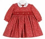 NEW Sarah Louise Red Dotted Twill Smocked Dress with White Embroidered Collar