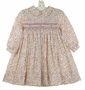 NEW Sarah Louise Rose Twill Flowered Dress with Pintucks and Fagoting