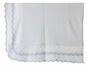 "<img src=""http://site.grammies-attic.com/images/blue-sold-1.gif"">   NEW Sarah Louise White Blanket with Blue Dots and Blue Scalloped Trim"