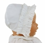 NEW Sarah Louise White Bonnet with Smocked Face Ruffle