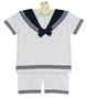 NEW Sarah Louise White Cotton Knit Sailor Shorts Set with Navy Trim