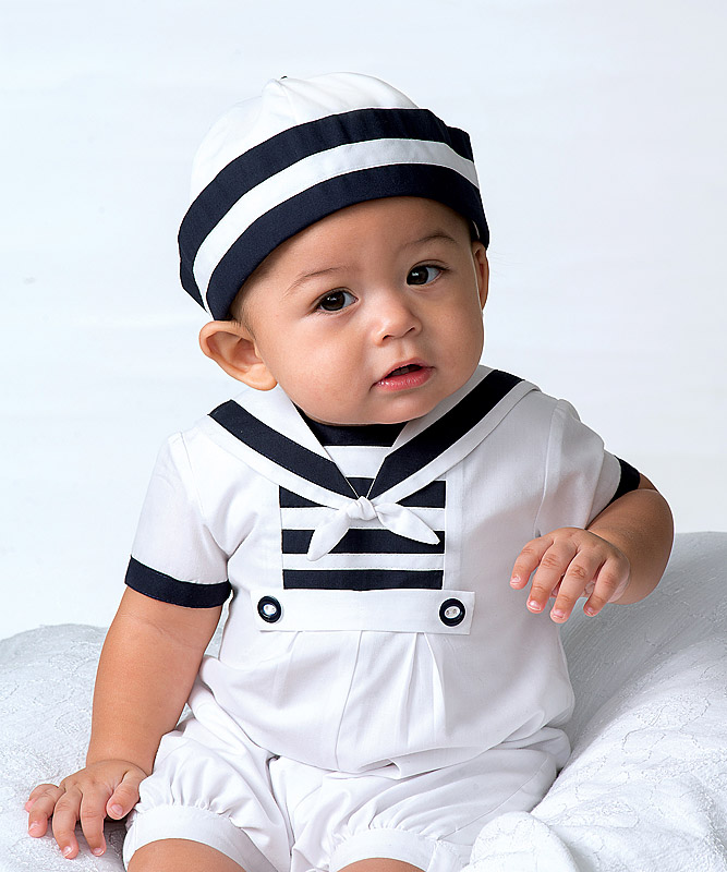 Sarah Louise Sailor Suit Hat Set Baby Boy