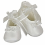 NEW Sarah Louise White Satin Shoes with Pearl Trimmed Bow