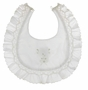 "<img src=""http://site.grammies-attic.com/images/blue-sold-1.gif""> NEW Sarah Louise White Smocked Bib with Bow Embroidery"