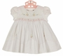NEW Sarah Louise White Smocked Dress with Pastel Embroidered Flowers