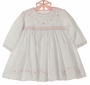 NEW Sarah Louise White Smocked Dress with Pink Rosebud Embroidery and Scalloped Hem
