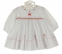 NEW Sarah Louise White Smocked Dress with Red Embroidered Flowers