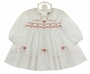 NEW Sarah Louise White Smocked Dress with Red Rosebuds and Sparkling Embroidery