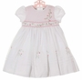 "<img src=""http://site.grammies-attic.com/images/blue-sold-1.gif""> NEW Sarah Louise White Voile Smocked Dress with Exquisitely Embroidered Pink Floral Spray and Delicate Beading"