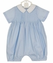 NEW Sophie Dess Blue Pintucked Romper with White Collar