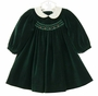 NEW Sophie Dess Green Velvet Smocked Dress with Ivory Silk Collar