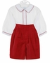 NEW Sophie Dess Red Velvet Shorts Set with White Shirt
