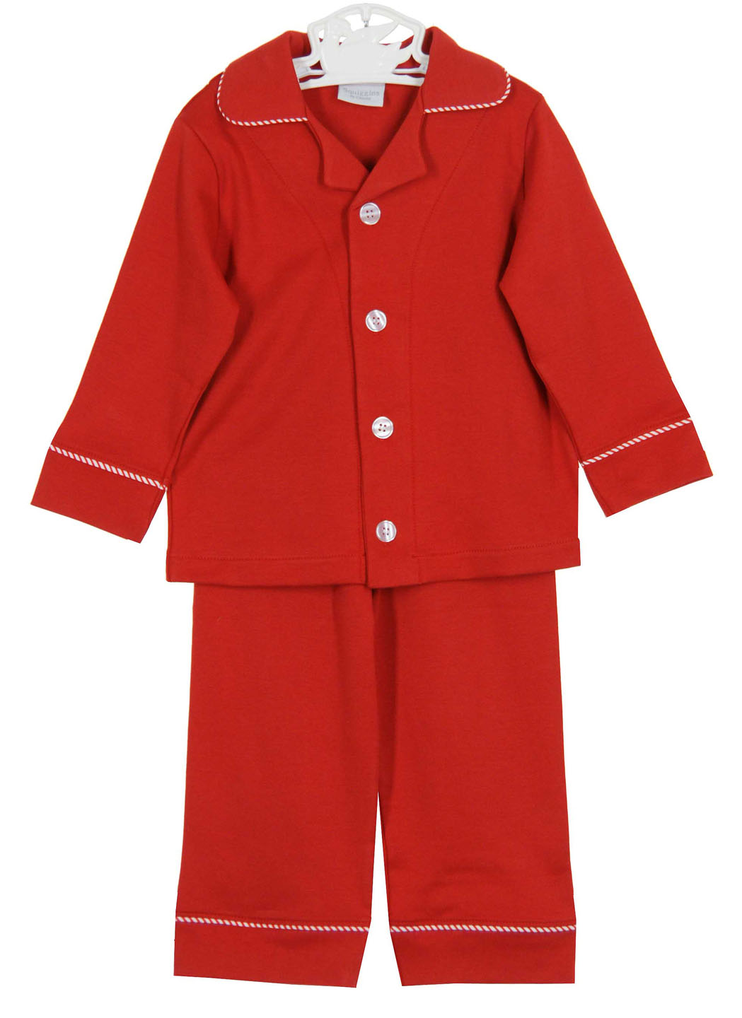 Squiggles Monogrammable Red Pima Cotton Knit Pajamas