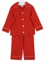 NEW Squiggles Monogrammable Red Pima Cotton Knit Pajamas with Candy Cane Striped Trim