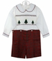NEW Strasburg Red Plaid Button on Shorts Set with Christmas Tree Embroidered Smocked Shirt