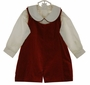 NEW Therese Dark Red Cotton Velvet Shortall with Back Belt and Ivory Shirt