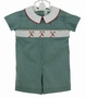 "<img src=""http://site.grammies-attic.com/images/blue-sold-1.gif""> NEW Viva La Fete Green Checked Romper with Smocking and Candy Canes"