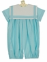NEW Victorian Heirlooms Aqua Romper with White Trimmed Square Portrait Collar