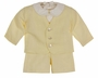 NEW Victorian Heirlooms Yellow Linen Eton Suit Set with Suspendered Shorts