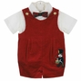 "<img src=""http://site.grammies-attic.com/images/blue-sold-1.gif""> NEW Vintage Style Red Velvet Romper with Nutcracker Applique and Matching Bowtie"