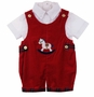 "<img src=""http://site.grammies-attic.com/images/blue-sold-1.gif"">  Vintage Style Red Velvet Romper with Plaid Trim and Rocking Horse Applique"