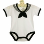 NEW White Cotton Knit Sailor Romper with Black Trim