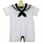NEW White Cotton Knit Sailor Shortall with Black Trim